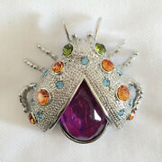 New Lucky Ladybug Good Spirit Purple Silver Sparkle Crystals Brooch Pin Br1188
