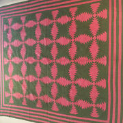 Antique Vintage Patchwork Quilt In The Pineapple Pattern.