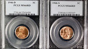 1946-d-s Pcgs Ms 66 Rd Small Cents Lincoln Wheat Lot Of 2 Coins