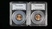 1954-d-s Pcgs Ms 66 Rd Small Cents Lincoln Wheat Lot Of 2 Coins