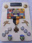 Military Rotc Torch Crossed Rifles Pin Bars Ribbon Medal Lot Collection