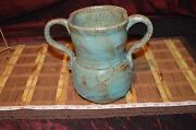 "Handmade Pottery Vase w/ Double Handle Browns Pink Blue Signed  7 1/2""x8 3/4"""