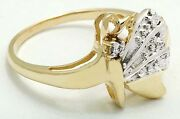 Genuine Diamonds Butterfly 10k Yellow Solid Gold Ring Free Shipping