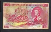 Seychelles P-18a F 100 Rupees 1968 Qeii Famous Turtles Note