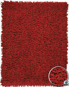 Red Shag/flokati Chenille Chunky Area Rug Solid Amb0652
