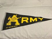 Vintage Army Go Get Em Mule Felt Pennant West Point Black And Yellow