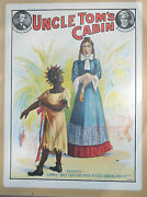 Rare Old 19th C Theater Poster Sign Advertising Uncle Tomand039s Cabin Racial Topsy