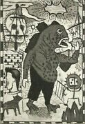 Tony Fitzpatrick 'fish Man', 1997 Signed Etching Limited Edition 6/40 New