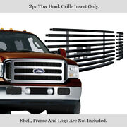 Fits 2005-2007 Ford Super Duty Excursion Black Tow Hook Stainless Billet Grille