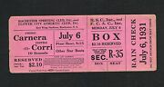 Very Rare 1931 Primo Carnera Full Boxing Ticket Rochester Ny Boxer Red Wing Std