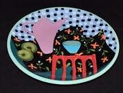 Droll Designs Pottery, Coffee Pot, Apples, Large Round Serving Platter, 17""