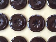 Vintage Buttons - 24 Chocolate Brown Carved Center Casein 2-hole 1 Buttons