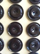 Vintage Buttons 24 Chocolate Brown 2-hole Raised Center Casein Buttons - France