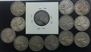 Canada 10 And 25 Cents Large Lot Of 18 Dates Silver Good Mix 1937 1952