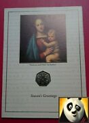 2005 Gibraltar Christmas Xmas 50p Fifty Pence Mary And Jesus Coin Card