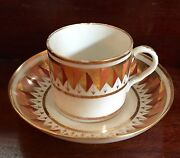 Antique Coalport Porcelain Tea Coffee Cup Or Can And Saucer 1805 19th C. Harlequin