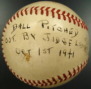 1941 World Series Signed First Pitch Baseball Thrown By Kenesaw Landis