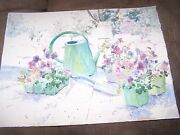 Signed Original Watercolor By Peg Humphreys, Pansies And Beach Scene 22x16