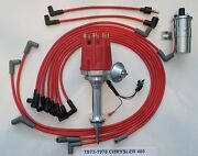 Small Cap Chrysler 73-78 400 Red Hei Distributor + Chrome Coil +spark Plug Wires