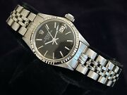 Vintage Rolex Date Ladies Stainless Steel And 18k White Gold Watch Black Dial 6517