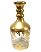 Antique Czech Art Glass Vase Large Cut To Clear Glass Gold Vase Decanter Perfume