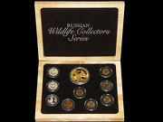 1991-1993 Wildlife Collectors Series 9-piece Proof Set W/ 100 Roubles Gold Coin