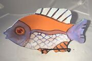 "JIM RICE Art Pottery Wall Sculpture Fish - 15.5""L - Naples Flordia Artist-SIGNED"