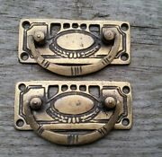 2 Arts And Crafts Antique-style Brass Handles Pulls Hardware 3 1/8w H33