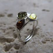 Size 8 Size P 1/2 Size 57 Multicolor Baltic Amber Ring Sterling Silver 1739
