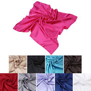 Elegant Large Silk Feel Solid Color Satin Square Scarf Wrap 35 - Diff Colors
