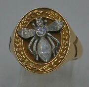 14kt Yellow Gold Wasp Ring With Diamonds Sz-8.5 14.4 Grams Free Shipping