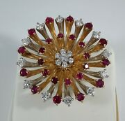 Diamond And Ruby Gold Flower Pin/brooch/pendant - Br655