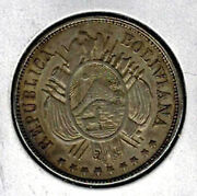 Bolivia 1873 Pts 50 Centavos 1/2 Boliviano Km 161.1 Lustrous Surface