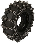 370/75-28 Skid Steer Tire Chains 8mm Studded 2-link Spacing Bobcat Traction