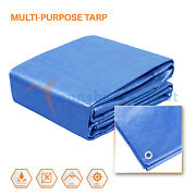 Blue Tarp Poly Tarpaulin Canopy Tent Shelter Car Boat Reinforced Resistant 5mil