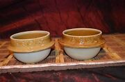 "Two Asian Brown Pottery Vase Planter Bowl Marked & Numbered 5 1/2""x3 1/8"""