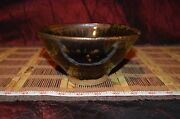"Handmade Pottery Bowl Handcrafted Clay Stoneware Art Brown Signed 6 3/8""x3 3/8"""