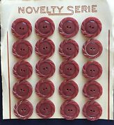 Vintage Casein Buttons - 1930and039s 20 Rose Color Carved 2-hole Casein Buttons