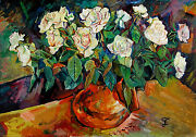 Oil On Canvas Painting Roses