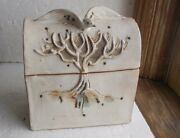 WURST '84 SIGNED ART POTTERY JEWELRY STORAGE BOX EAGLE & TREE UNIQUE HAND MADE
