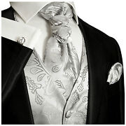 Silver Paisley Tuxedo Vest Tie And Accessories By Paul Malone