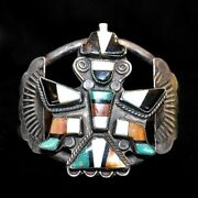 Old Pawn/estate, Sterling Silver And Multi-stone Zuni Knifewing Bracelet