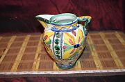 """Handmade Raised Floral Clay Pottery Decorative Pitcher Vase 7 1/2x7 1/4"""" Signed"""