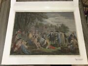 Hand Colored Engraving By J Hall William Pennand039s Treaty W/ Indians 1775 J Boydell
