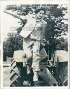 1941 Woman Farmer On Tractor Models Field Suit Working Fashions Press Photo