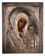 Rusian Orthodox Icon Of Kazan Mother Of God In Silver Oklad