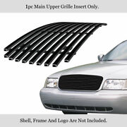 For 1998-2012 Ford Victoria W/honeycomb Style Logo Cover Black Billet Grille