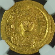 Justin Ii 565-578 Ad Gold Solidus Byzantine Empire Ngc Ms Ancient Strike 4/5