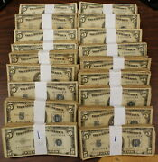 Lot Of 100 5 Dollar Silver Certificates 1953
