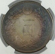 1901 Japan 1 Yen Silver Coin M34 Ngc Unc Details Better Coin, Naturally Toned